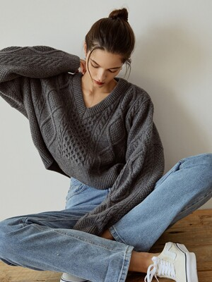Cable Crop Wool Knit(Gray)