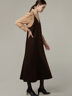 Wool strap layered dress - Brown