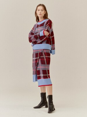 CHECKED SIDE VENT WOOL-BLENDED KNIT SKIRT_BURGUNDY (EETZ4SKR02W)