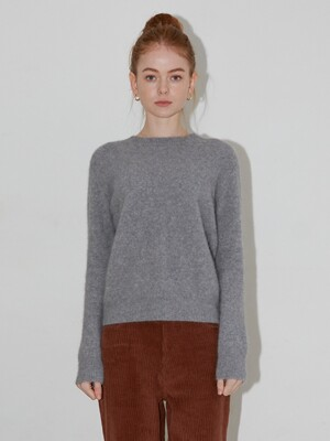 RACCOON ROUND SWEATER - MELANGE GRAY