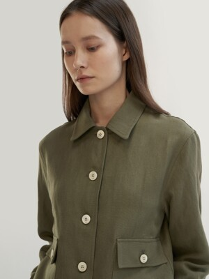 wool linen cruiser jacket khaki