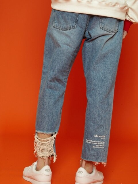 [unisex] Ankle damage denim
