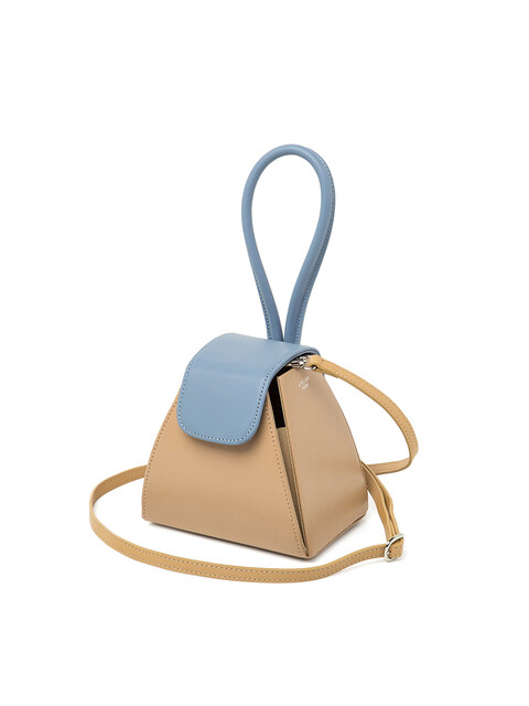 COLOR BLOCK HANDLE BAG_ BEIGE