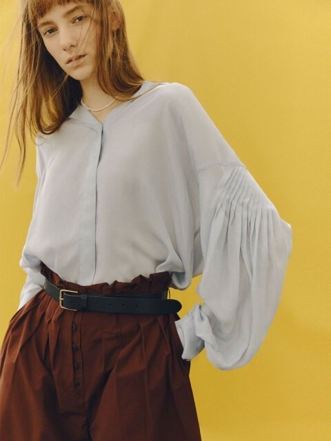 [FRONTROW X pushBUTTON] Loose fit marine blouse