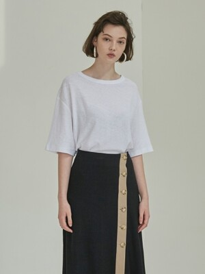 18SS LINEN U NECK T-SHIRT WHITE