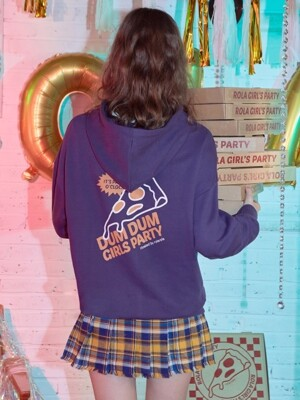 (HD-18546) BACK PIZZA HOOD T-SHIRTS PURPLE