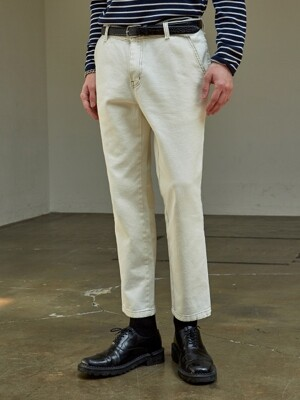 PEACH SKIN COTTON PANTS_IVORY