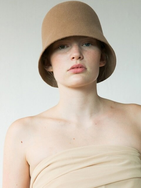 LAMBS WOOL HALF ROUND BUCKET HAT_BROWN