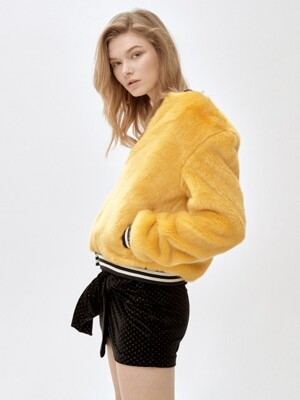 SUNNY solid bomber jacket [YELLOW]