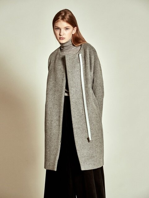 Simple Zip up Wool Coat_ Grey