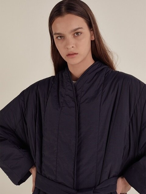 PADDING LONG ROBE_NAVY