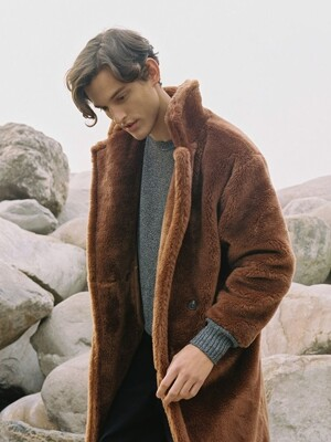 FAKE FUR LONG COAT BROWN (MEN)