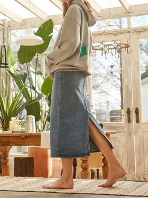 DENIM H-LINE LONG SKIRT BLUE
