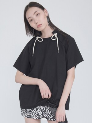 DRAW-STRING COTTON BLOUSE_BLACK