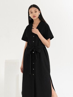 LINEN FRONT BUTTON DRESS . BLACK