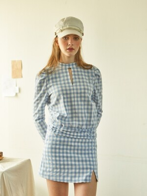 Gingham Check Blouse_ Blue