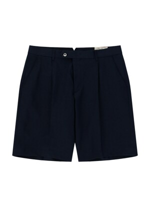 Linen One tuck short pants (Navy)