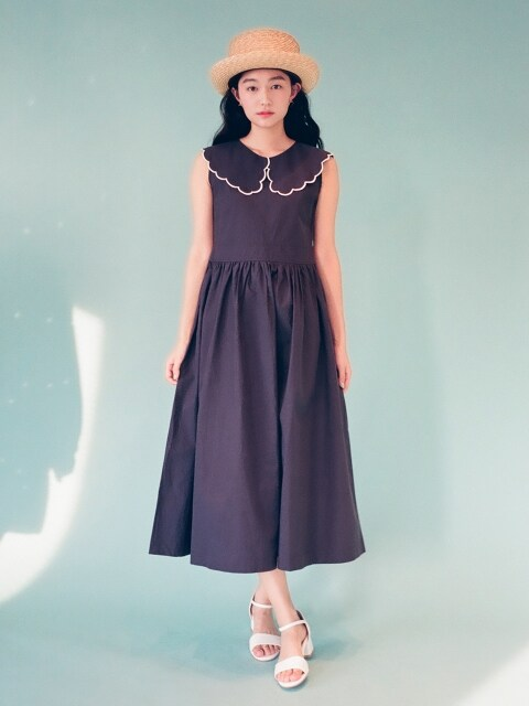 Scallop Collar Maxi Dress OPS : Navy