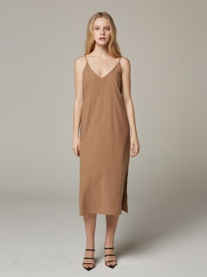 SUMMER_ Beige Simple Slip Dress