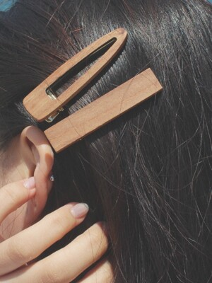 [2SET] WOOD CLIP HAIR PIN SET (2 COLORS)