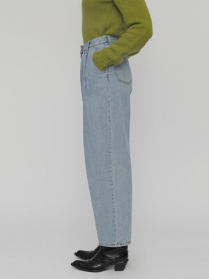 [UNISEX]R TWO TUCK LOOSE FIT DENIM PANTS_BLUE