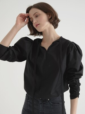 2 way volume blouse - Black