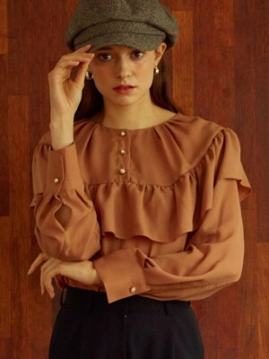 [By Joorti] J267 Frill blouse (camel)