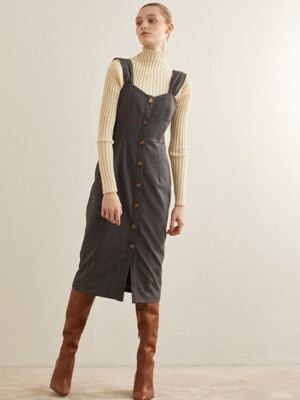 CORSET HERRINGBONE DRESS_GREY