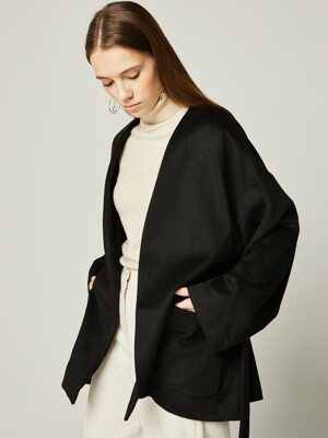 19WN WOOL HALF COAT Black