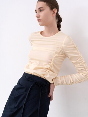 RUCHED LONG-SLEEVE TOP (LEMON)