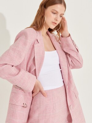 Not so classic Oversized Linen Jacket [Baby Pink]