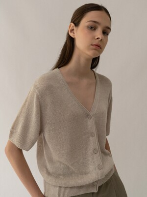 Linen short sleeve cardigan (Sand)