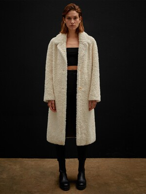 MILLY REVERSIBLE SHEARING MUSTANG COAT - IVORY