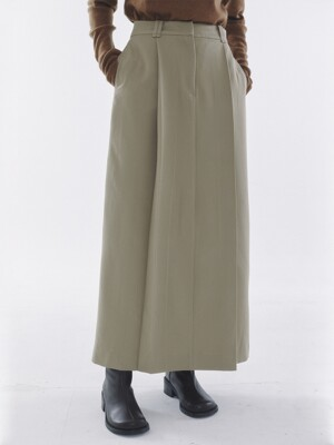 Tuck Pleats Long Skirt Beige
