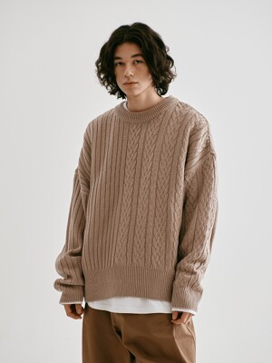 [FW20 Sounds Life]Half-Cable Knit Pullover(Beige)
