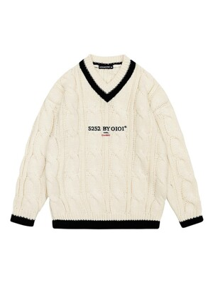 CLASSIC LOGO TWIST KNIT PULLOVER [IVORY]