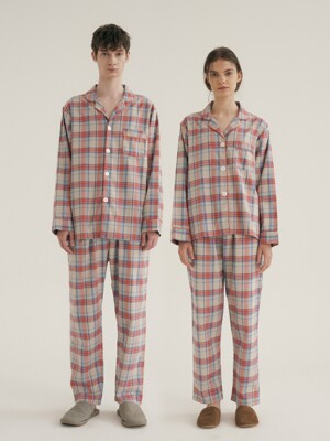 (Couple) Coral Plaid Pajama Set