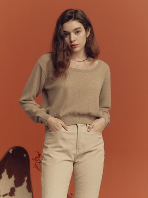 Round Neck Crop Knit in Brown_VK0WP2650
