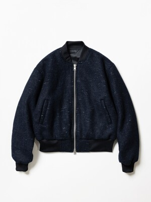 Nocle Wool Mohair 2 Way Bomber Jacket Navy