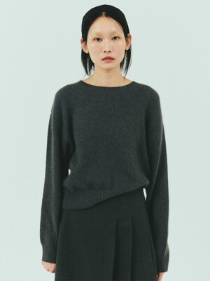 BENSIMON MERINO WOOL CROP KNIT - DARK GREY