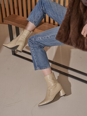 [at SALONDEJU] Square-toe leather boots/ Beige