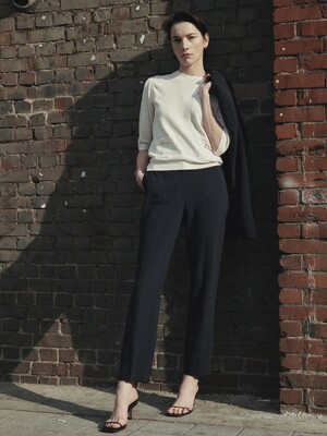 [Drama Signature] Slim Straight Trousers_NAVY