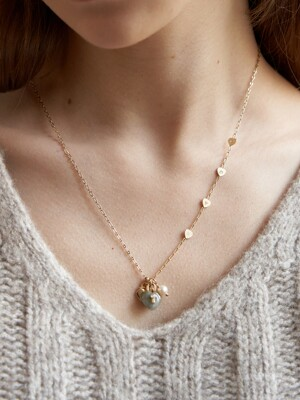 Labradorite Heart Lock Pearl Long Necklace_NZ1136