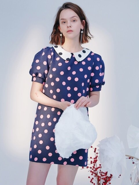 DOT MINI DRESS-PINK