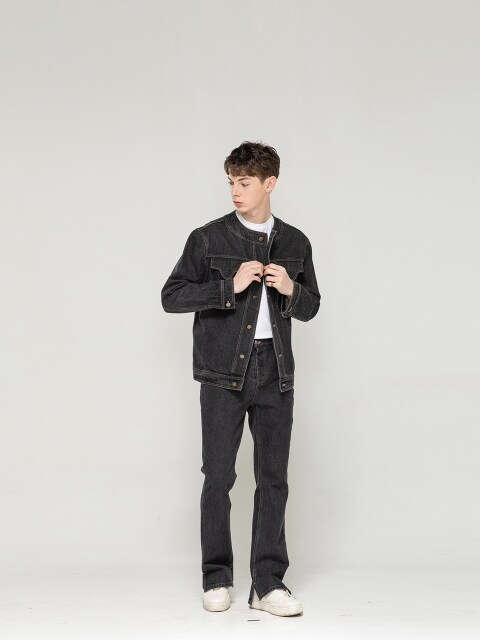 Collarless Denim Jacket [ Wash Black ]