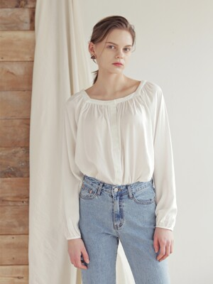 SQUARE NECK SHIRRING BLOUSE_WHITE