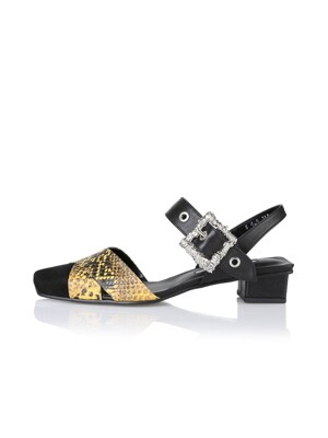 Bliss sandals / 19PF-S409 Black+Yellow Python