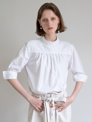 19FW DRAW-STRING COTTON BLOUSE (WHITE)