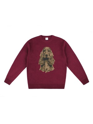 COCKER WOOL KNIT (BURGUNDY)