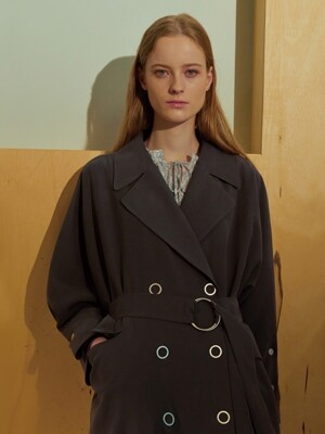 (EDITH) OVERSIZED DOUBLE TRENCH COAT_GY